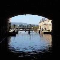 Tourists crossing over the Rideau Canal locks near Wellington Street Bridge
