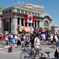 People on Wellington Street celebrating Canada Day on July first