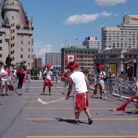 Team Canada celebrating July first on Parliament Hill
