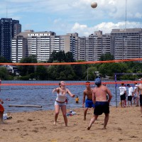 Beach volleyball at Mooney`s Bay on Ottawa`s Rideau River