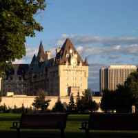 Sun setting on Chateau Laurier