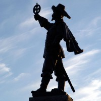 Statue of Samuel de Champlain at Nepean Point depicted holding his astrolabe upside down
