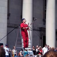 Busker juggling knives at the Sparks Street Mall International Busker Festival
