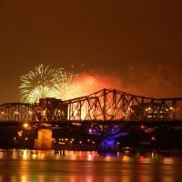 Casino du Lac Leamy fireworks over the Alexandra Bridge