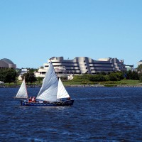 Elliot Lake Cadet`s sailboat on the Ottawa River in front of the Canadian Museum of Civilization