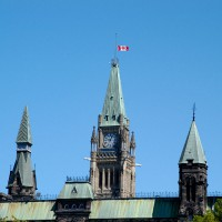 Parliament Peace Tower flag at half mast