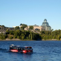 Amphibus on the Ottawa River near National Gallery of Canada museum