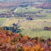 Farm land near Gatineau Park on a colorful fall day