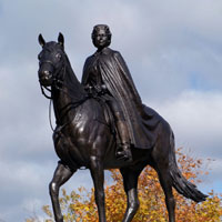Statue of Queen Elizabeth II on a horse located on Parliament Hill