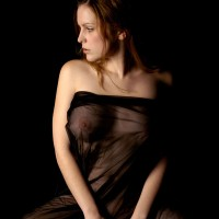 Model wearing a black sheer cloth