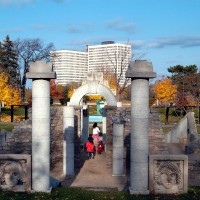 Kids playing at Ottawa`s Strathcona Park during a fall day