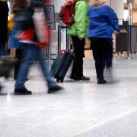 Travelers at Pierre Elliot Trudeau airport