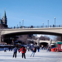 Skaters on Rideau Canal near the Parliament