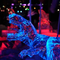 Dinosaur ice sculpture during Winterlude