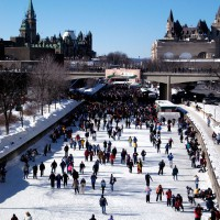 Skaters on the Rideau Canal during Winterlude