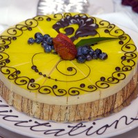 Congratulation yellow fruit cake