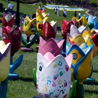 Tulips sculptures in Majors Hill Park during annual Tulip Festival
