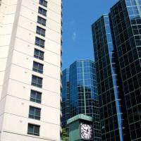 Clock between Skyscrapers