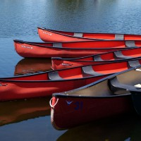 Red canoes on Dows Lake