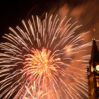 Fireworks on parliament hill during Canada Day celebrations