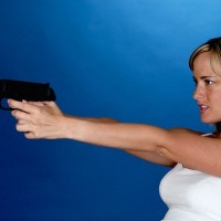 Woman in shooting position