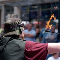 Fire breather performing during the International Busker Festival