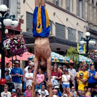 Acrobats performing during the International Busker Festival