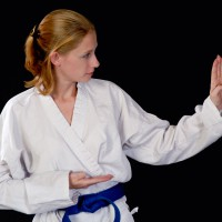 Woman doing karate moves