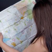 Woman looking at map