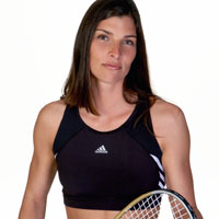 Woman with racquetball racket