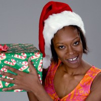 Pretty woman with Chirstmas gift